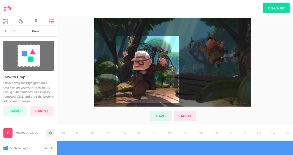 With the editor, cropping gifs is easy