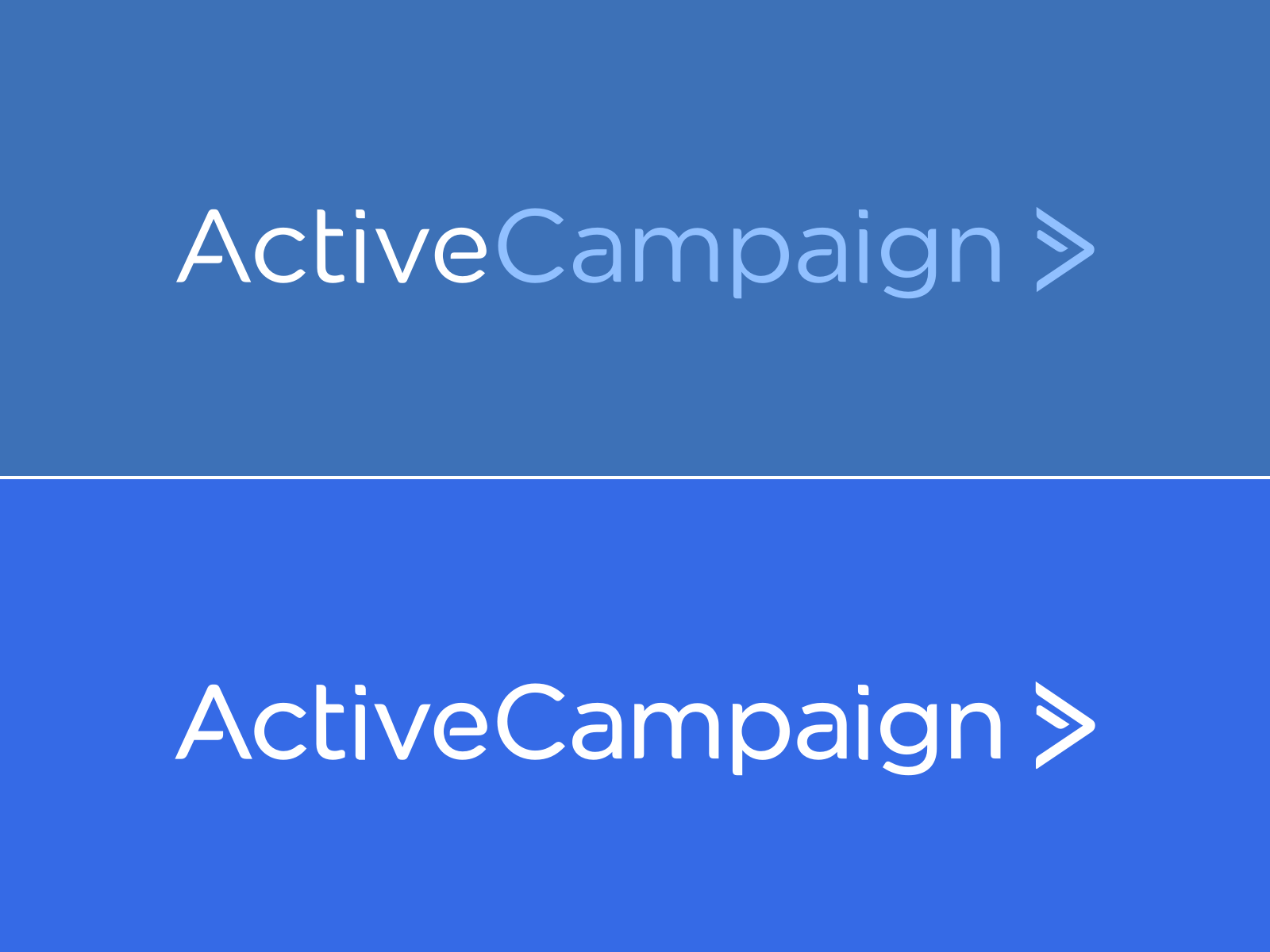 ActiveCampaign's old brand identity up top, new identity below