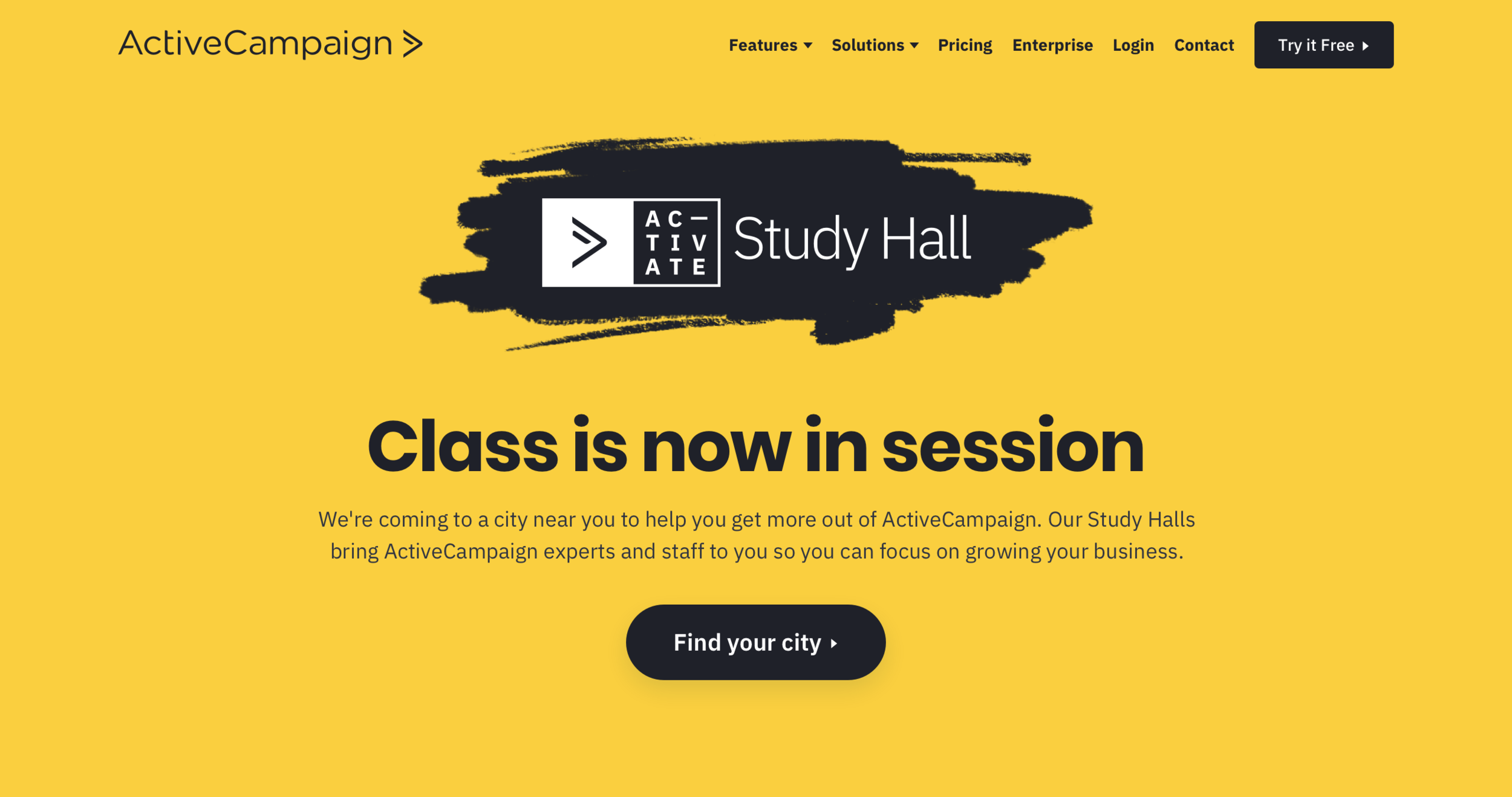 The hero section of the Study Hall landing page