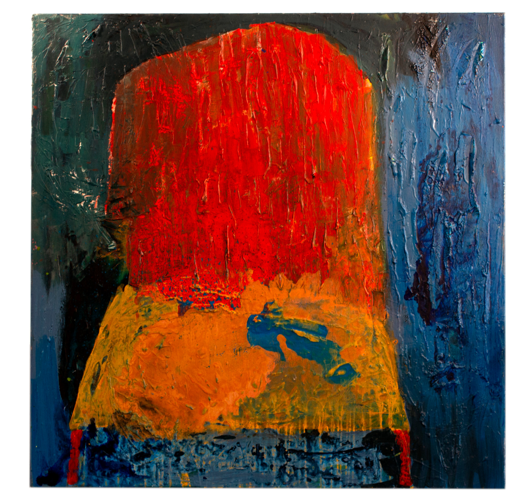 """""""Burning Chair"""" - 4' x 4' - Acrylic, 2017   Click to enlarge"""