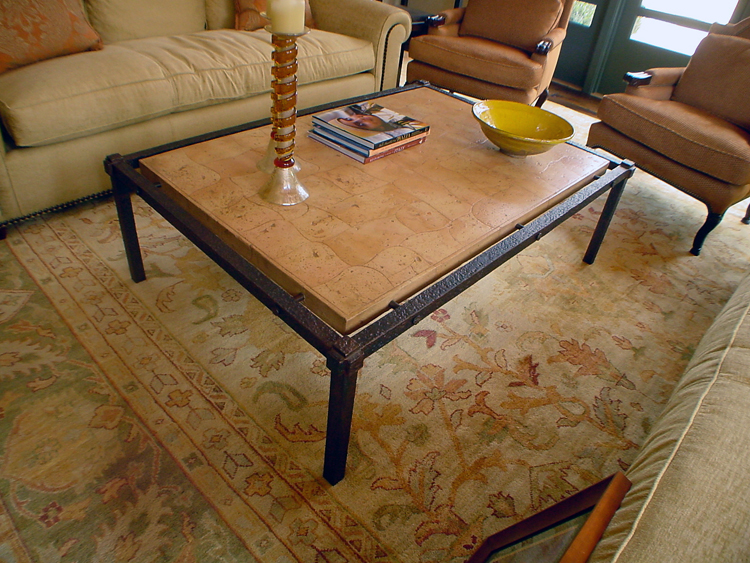 Steel Table with Patina & Italian Tile Top
