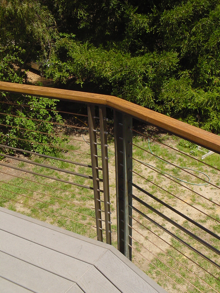 Bronze Cable Railing with Wood Handrail