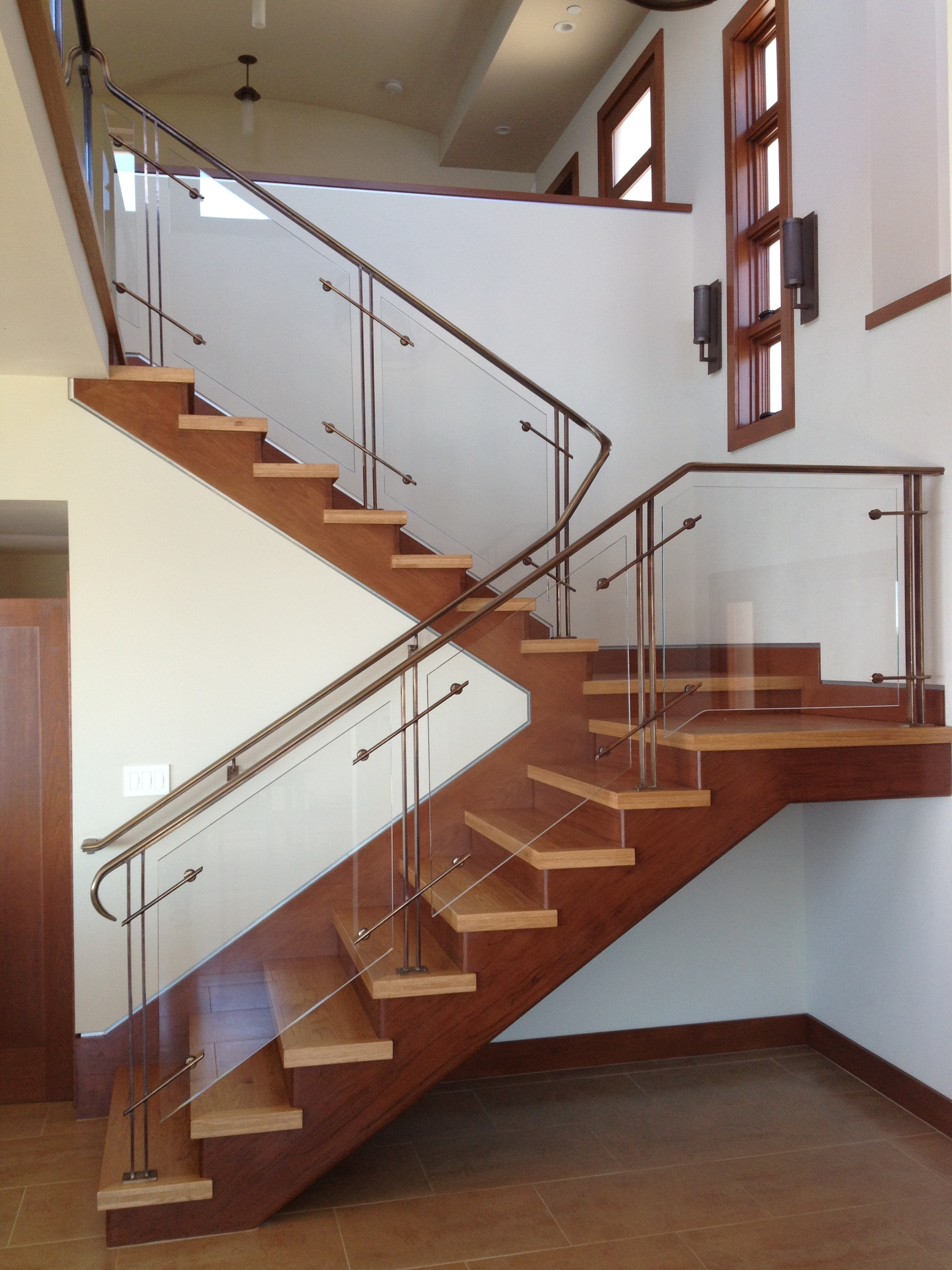 Bronze Railing with Glass Panels