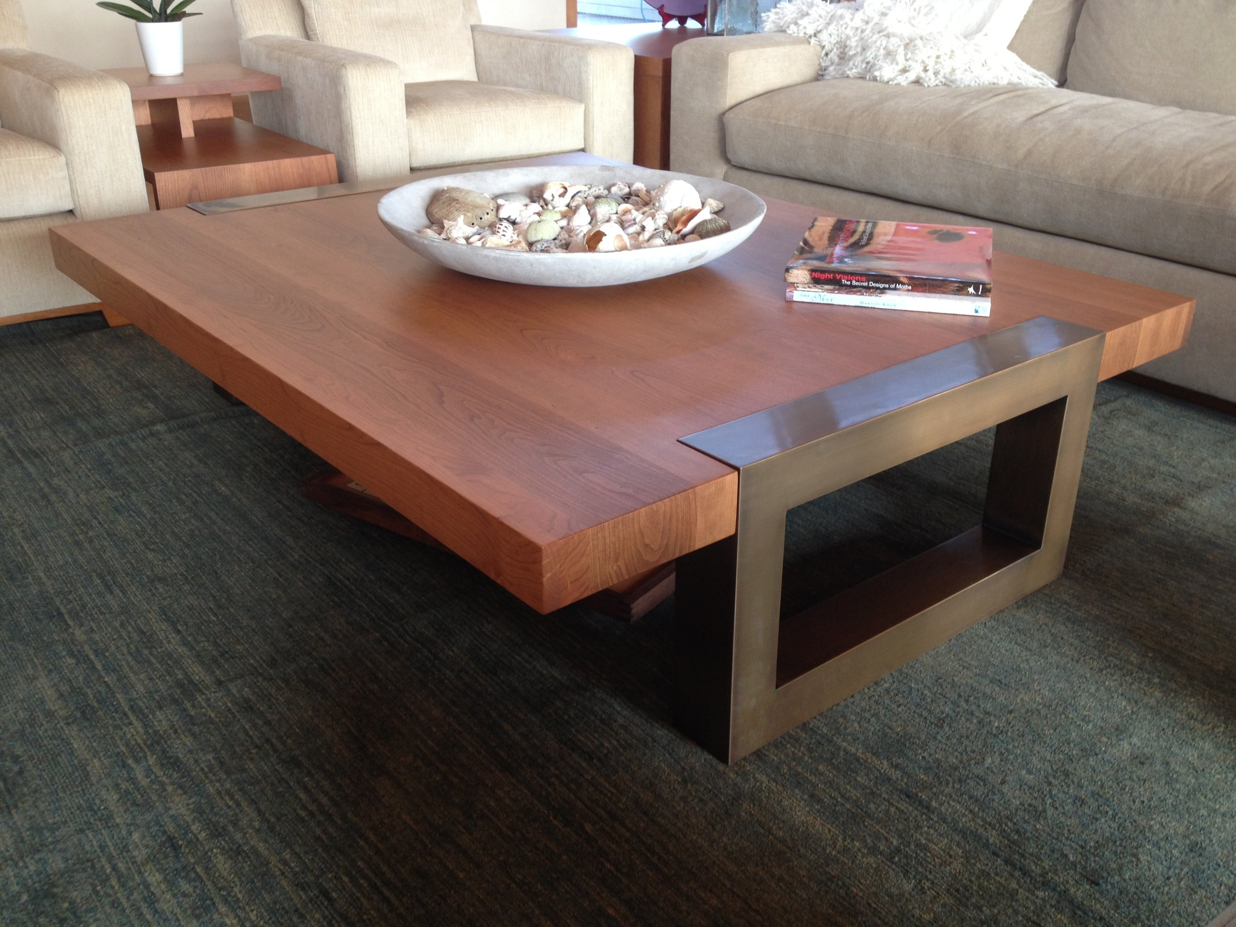 Bronze Table Legs with Wood Top
