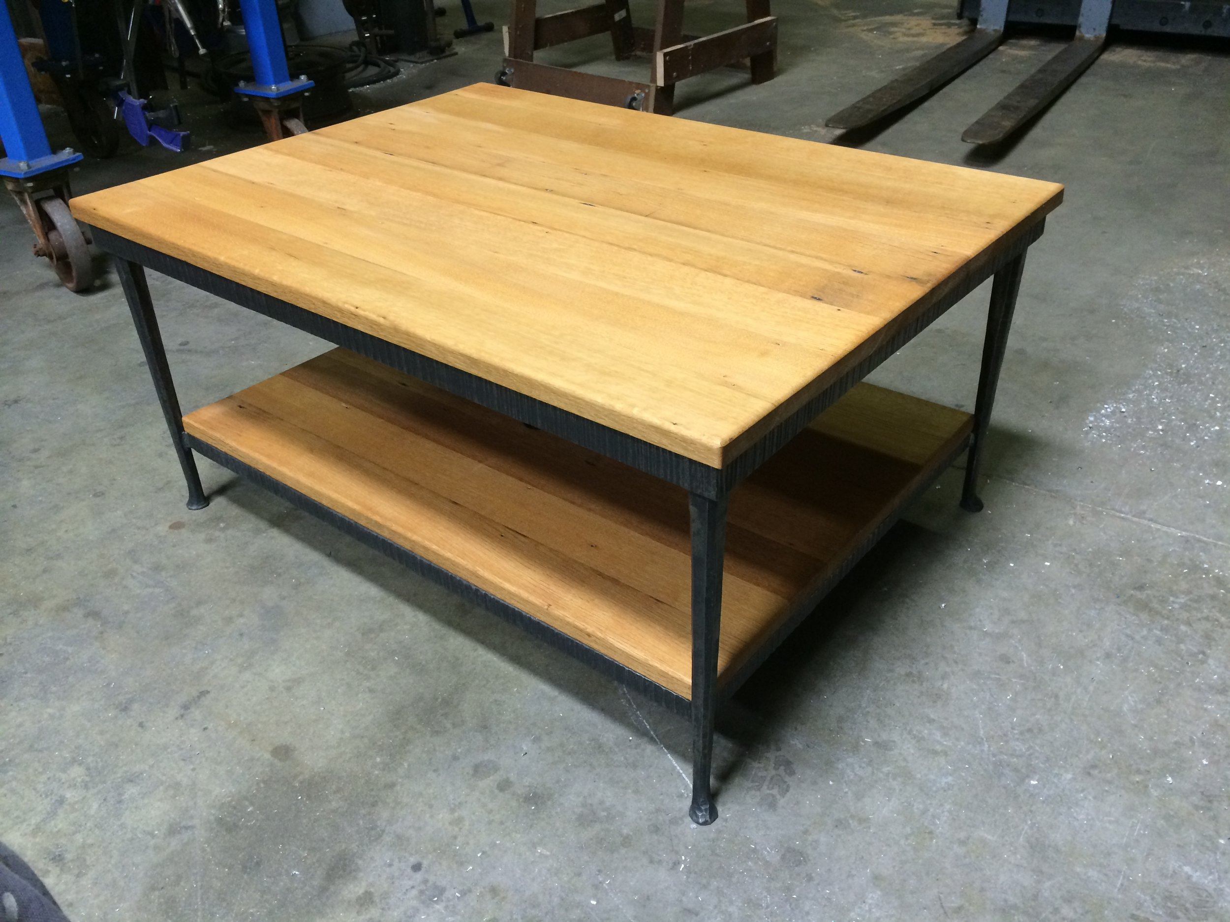 Steel Table Frame with Reclaimed Oak Top