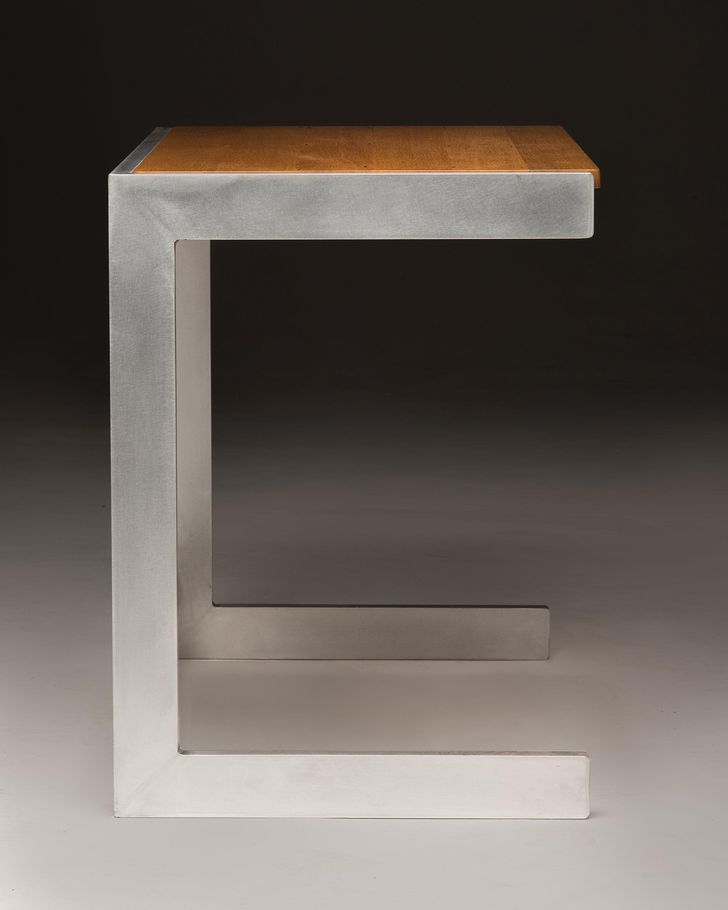 Cantilever Aluminum Desk Minimalist Contemporary Reclaimed Oak Wood