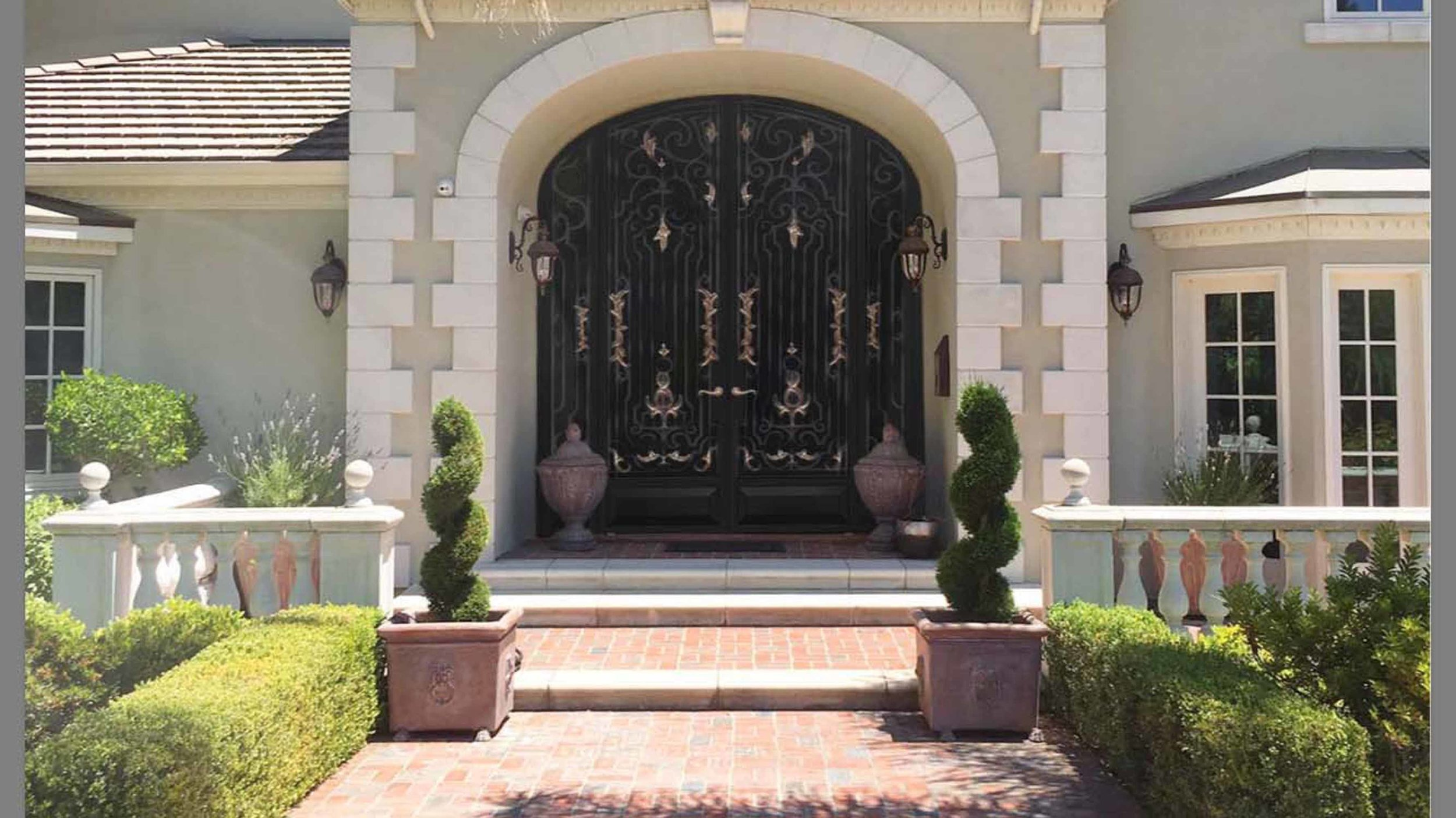 Wrought Iron Door with Bronze Leaves