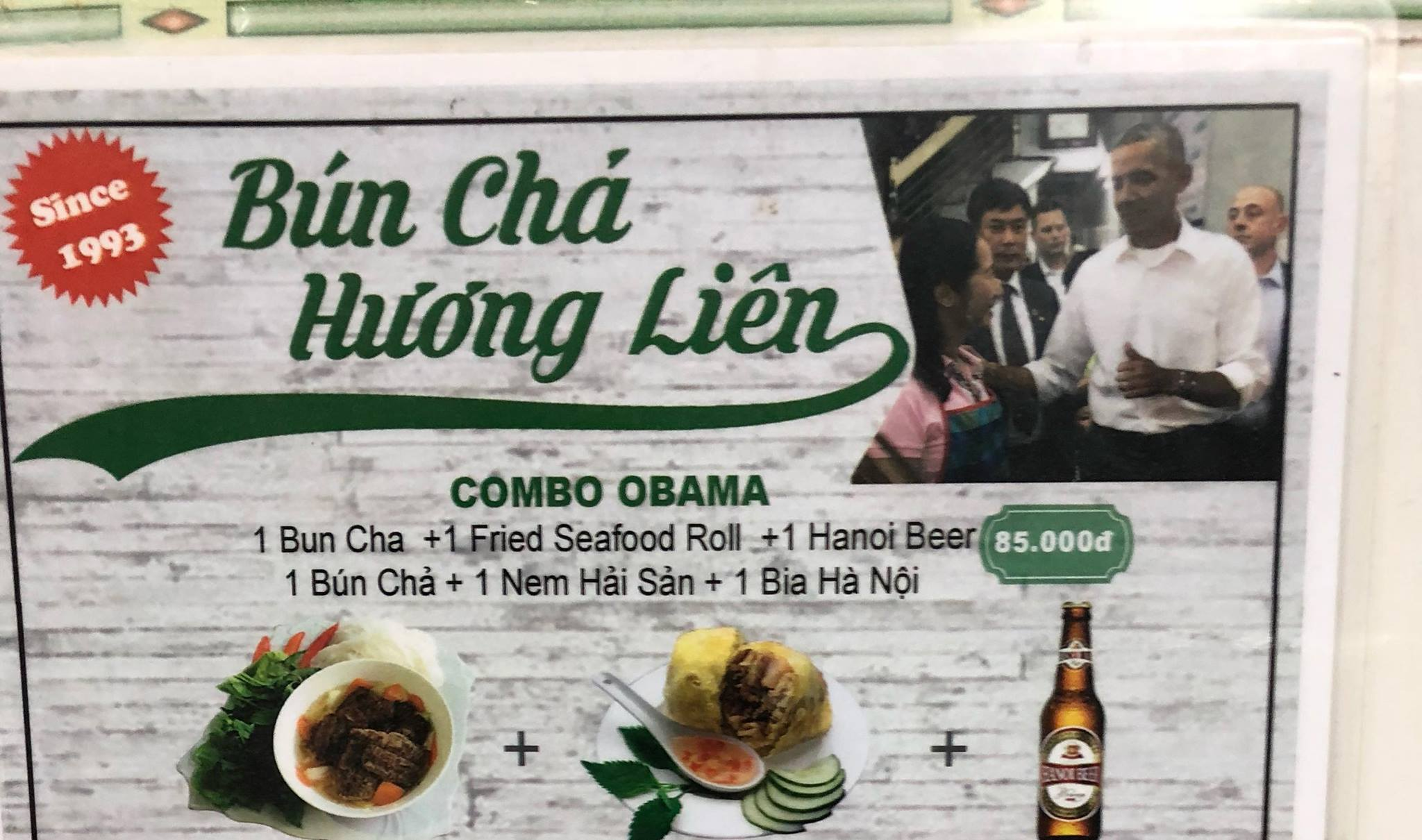 Photo of the menu at Bun Cha Huong Lien