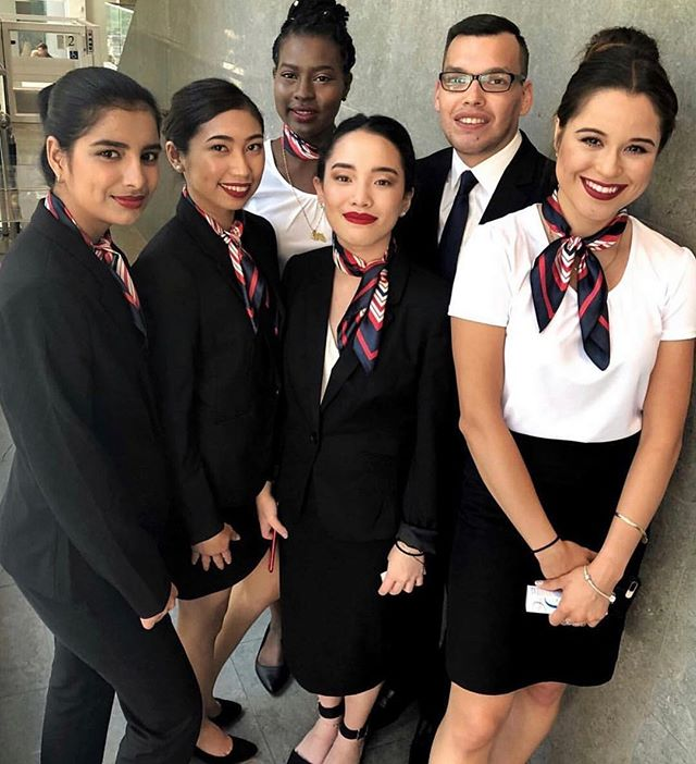 @canadiantourismcollege students looking sharp in our custom Flight Attendant Uniforms! ✈️