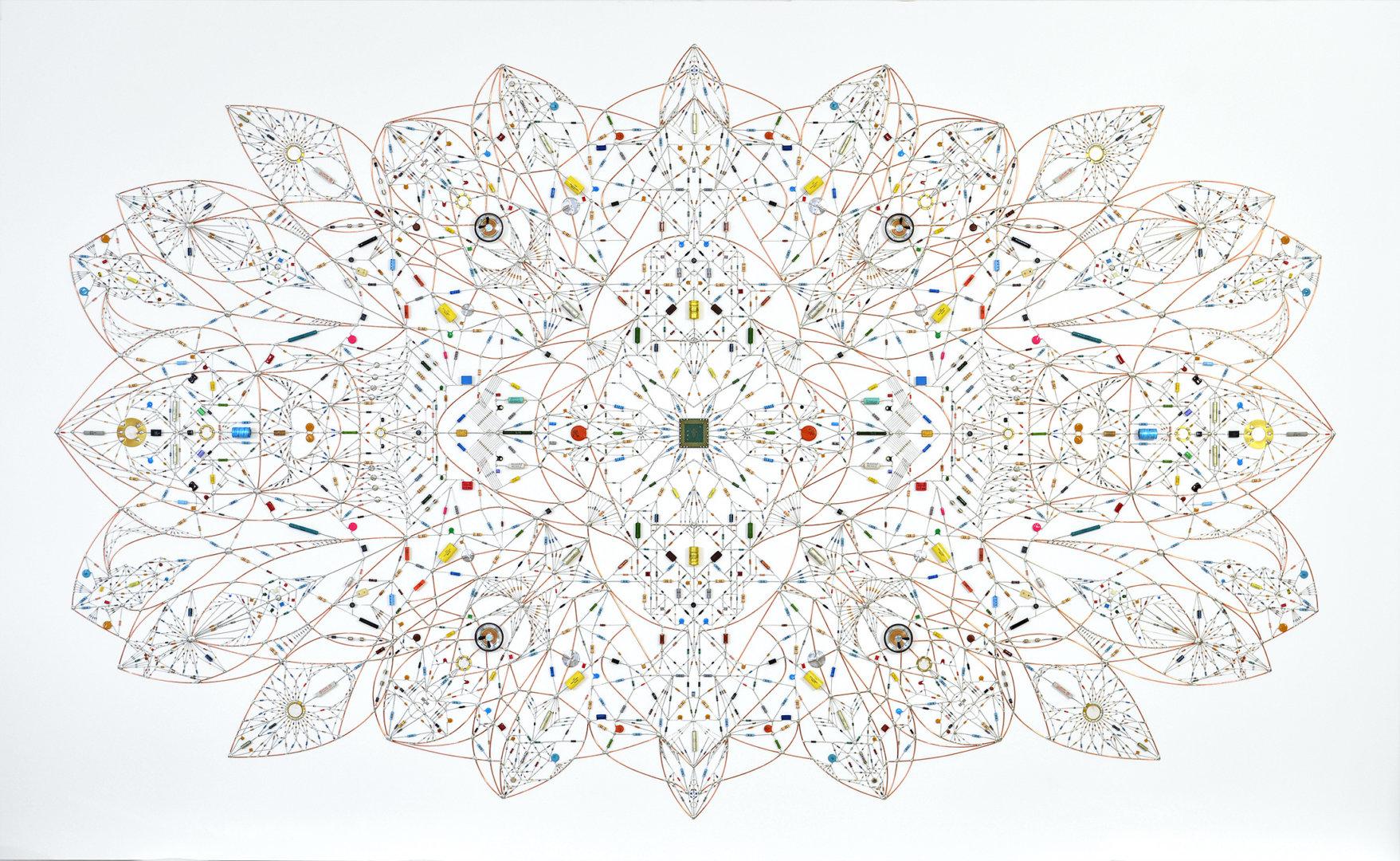 Leonardo Ulian's Technological mandala 131 – Blooming mind ( source )  Electronic components, copper wire, acrylic paint, varnish, paper, wood frame, 240 cm x 146 cm x 4,5 cm, 2018
