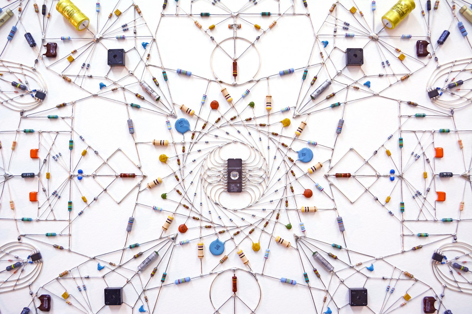 Leonardo Ulian's Technological mandala 53 – Vortex ( source )  OKElectronic components, copper wire, paper, wood frame, 102 cm x 102 cm, 2015