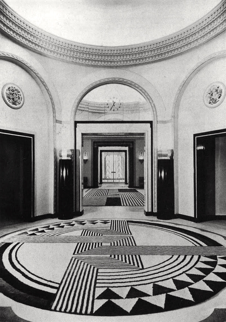 Marion Dorn rugs in the lobby of Claridges.