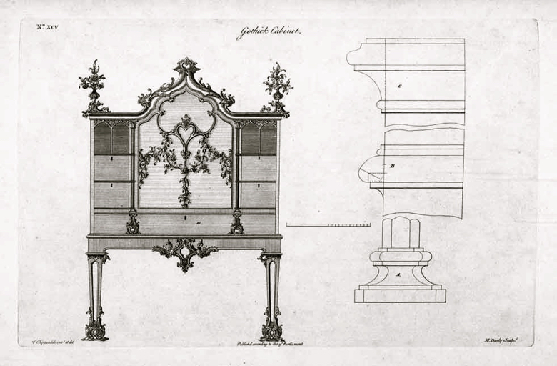 A plate from Chippendale's pattern book showing a Gothic cabinet