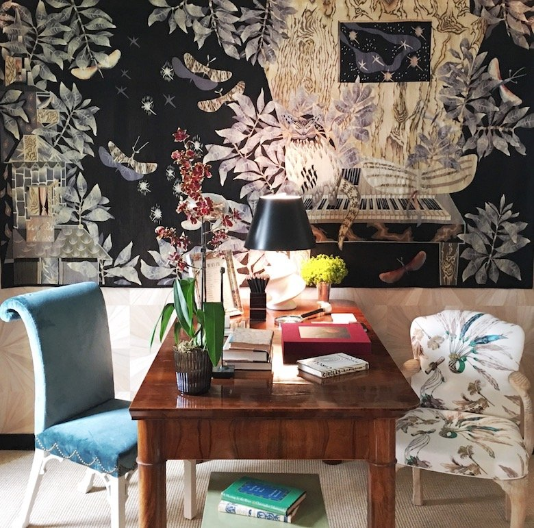 Nick Olsen's room featured a beautiful French Art Deco tapestry by Jean Lurcat