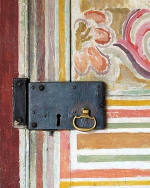 Detail of doorway painted by Vanessa Bell