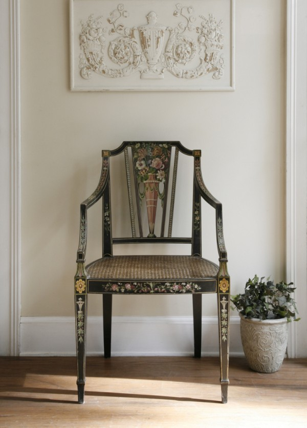 A reproduction painted Sheraton chair