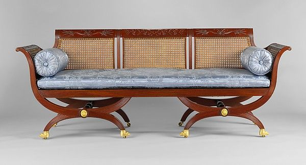 Settee with curule style legs Attributed to Duncan Phyfe (1770–1854) Date: ca. 1810–20