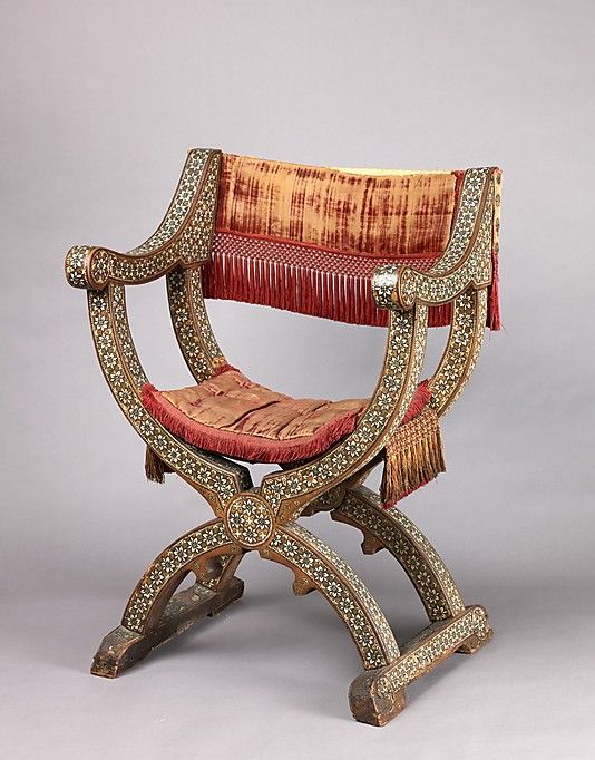 Dante chair. 15th or 16th centuries (textiles); late 15th or early 16th centuries (chair)