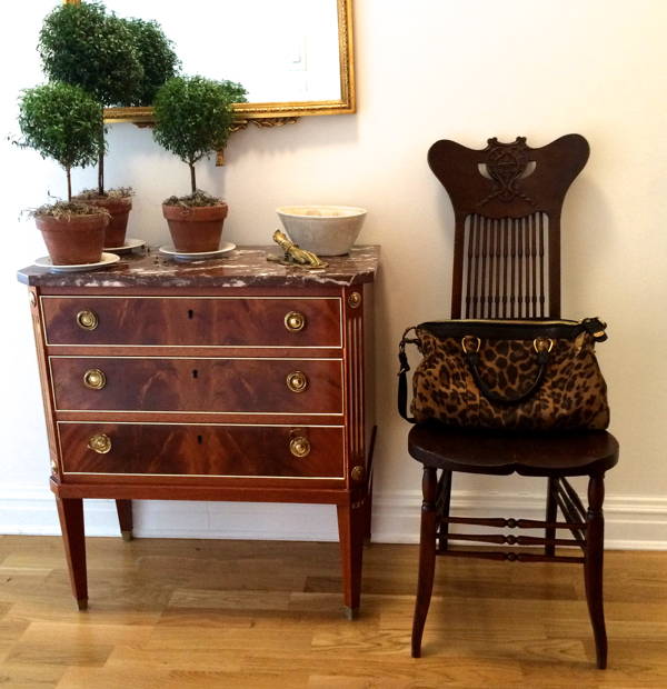 A Maison Jansen chest, c.1930, in our apartment featuring crotch mahogany veneers on the face.