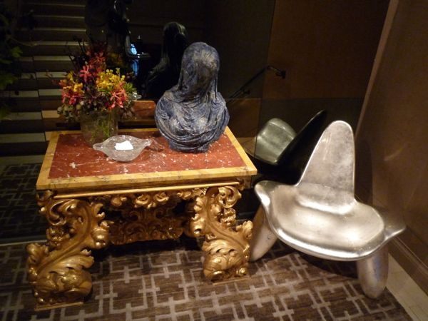 Wendell Castle's Triad Chair, fiberglass with silver leaf, in the Grand Staircase designed by John Eason in the 2014 Kips Bay Showhouse