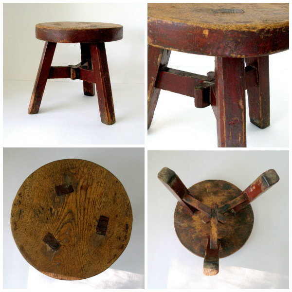 Antique Asian hand-hewn stool with mortise and tenon construction throughout