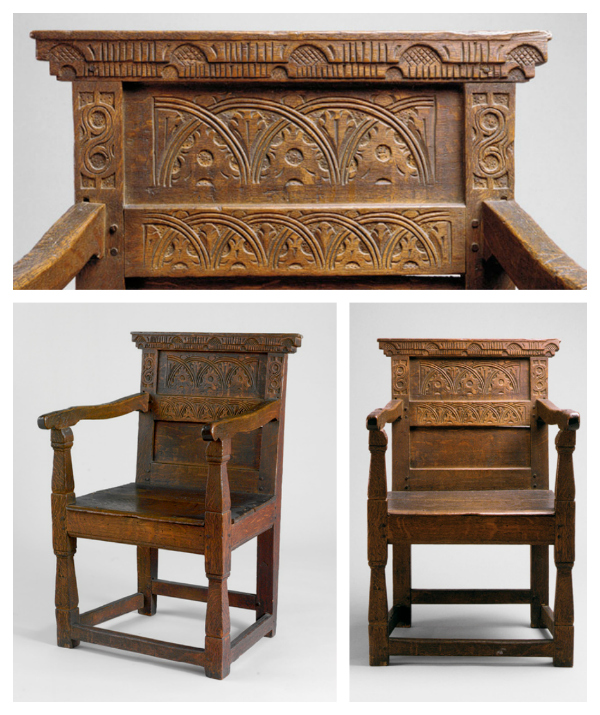 Armchair joined with mortise and tenon joints, 1650–1700 Essex County, Massachusetts