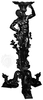 Carved boxwood gueridon by Andrea Brustolon, c. 1690–99; in the Ca' Rezzonico, Venice. The figure supporting the tabletop is known as a blackamoor.