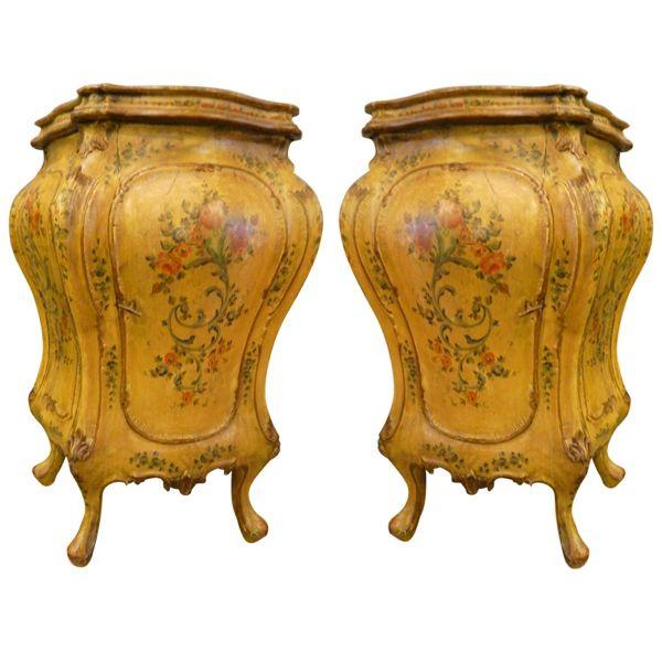 Pair antique Italian painted cabinets, 19th century