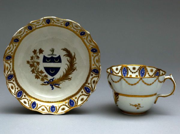 Chocolate Cup and Saucer in Porcelain decorated with paterae, Caughley, England,ca. 1775-1799