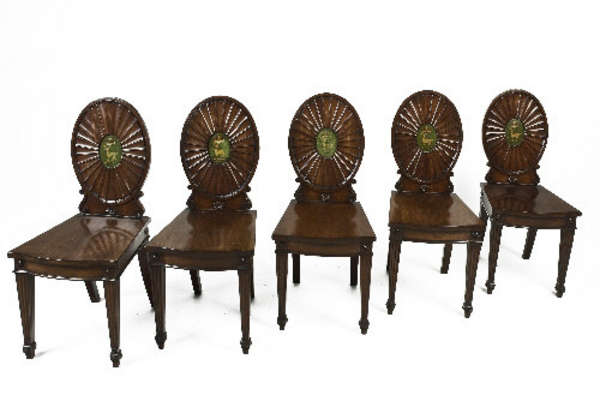As the back of hall chairs in the Rokeby Hall. A set of 5 Irish mahogany hall chairs, c.1800, attributed to Mack Williams and Gibton.