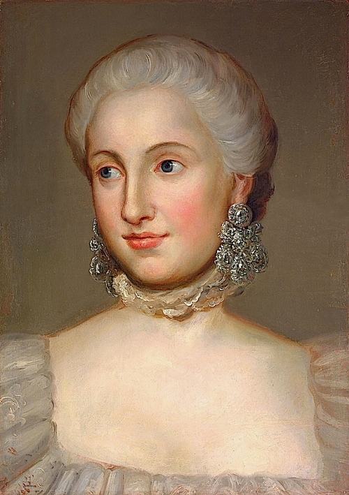 Princess Isabella of Parma (daughter of Philip of Spain, Duke of Parma) wears the 18th century diamond girandole earrings in this portrait. It was painted soon after her marriage to Joseph II in 1760, by Anton Raphael Mengs.