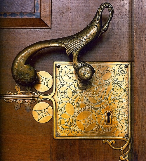 Beautiful hardware by Franz von Stuck on the entrance to the Council Room at the Bremen City Hall, Germany.