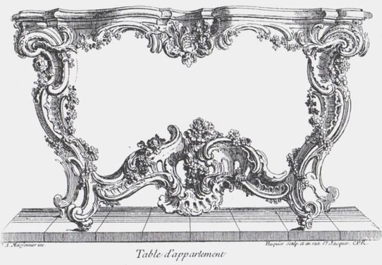 Note s-scrolls, c-scrolls and center rocaille element, all Rococo design elements