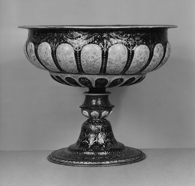 Italian late 16th-century enameled copper footed bowl