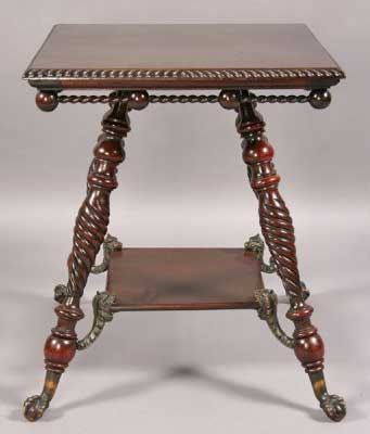 Gadrooning along top edge and spiral gadrooning on legs. Victorian period.