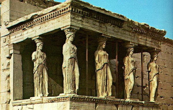 Caryatids on the Temple of Erechtheum in Athens, Greece