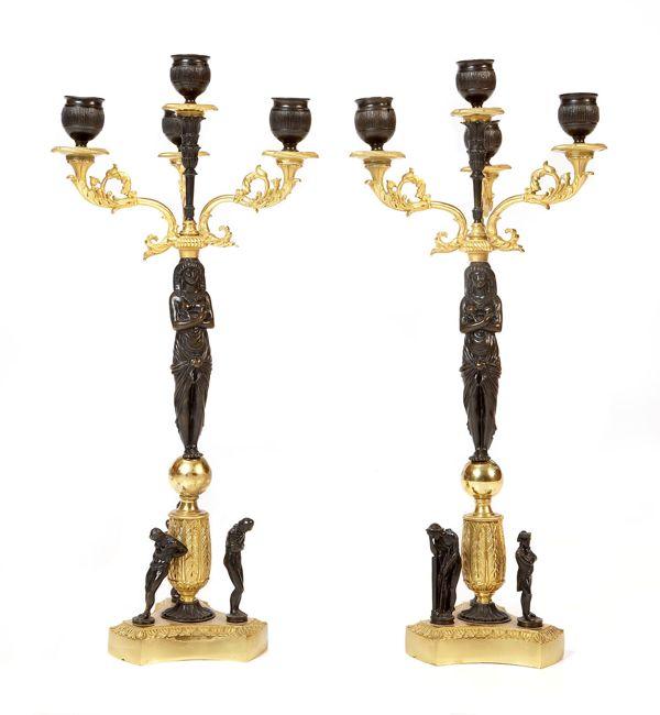 English Regency Candlesticks with Caryatids