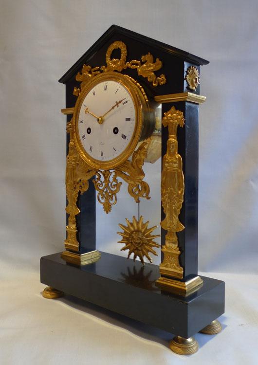 Antique French clock, Directoire period, portico form, signed Revel Paris.