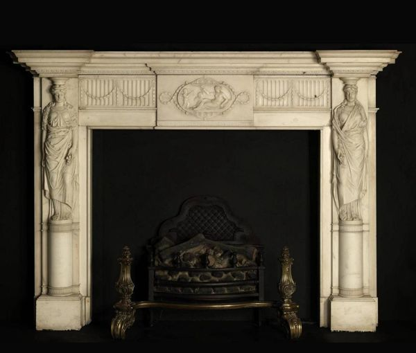 Very pretty neo-classical fireplace with caryatids