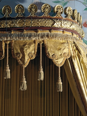 The cornice of a day bed canopy at Belvoir Castle Leicestershire, UK