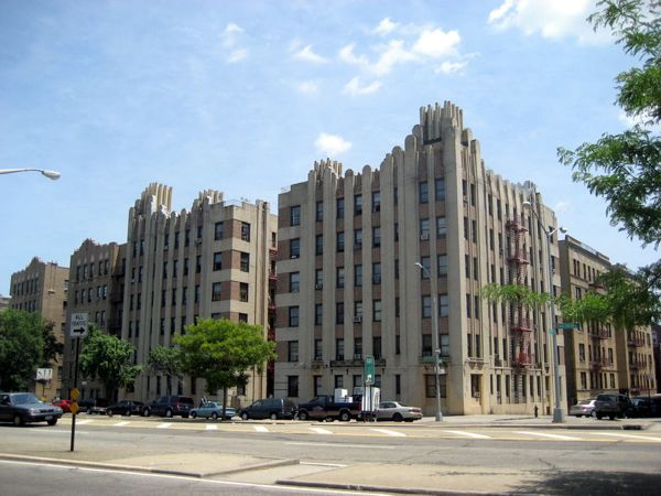 Art Deco building in the Bronx showing a stepped detail