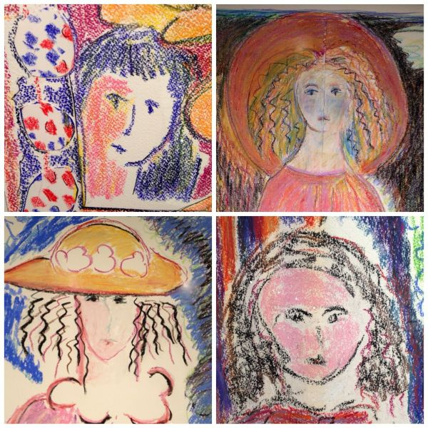 Detail of Faces from Art by Gloria Vanderbilt