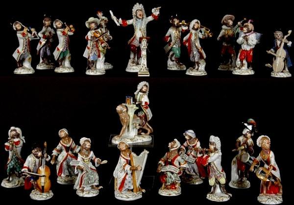 Porcelain singerie: Meissen's fanciful Monkey Orchestra, first created in 1753 by Johann Joachim Kaendler