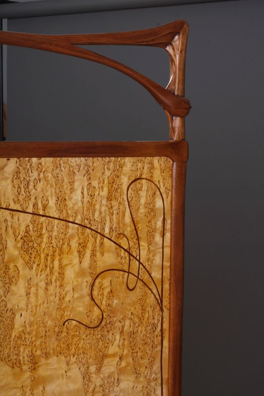 Detail showing whiplash curve from an Art Nouveau style screen created by Virginia Blanchard