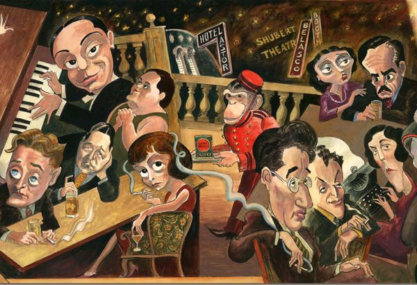 Singerie (monkey) waiters: Detail from Edward Sorel's mural at Manhattan's Monkey Bar