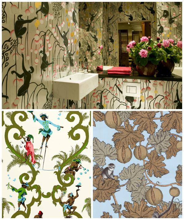 singerie wallpaper collage