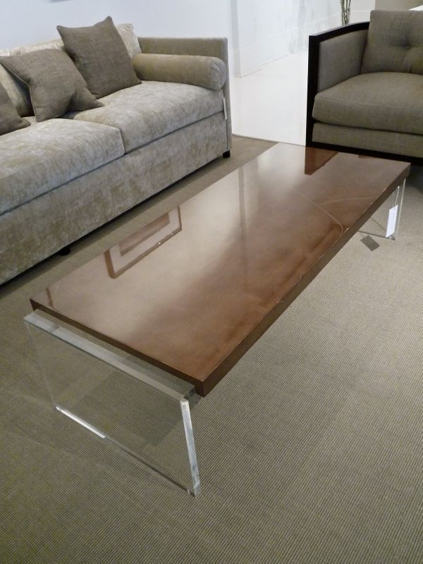 Coffee table with lucite base by Bolier