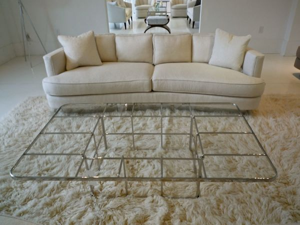 Sexy curved sofa and grid coffee table