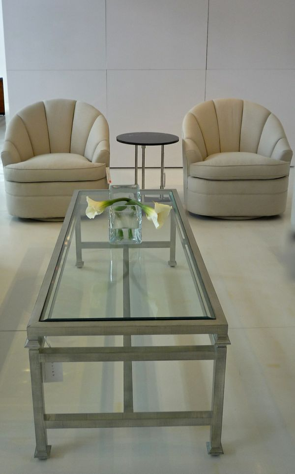 Metal based coffee table and channel backed chairs from Boiler