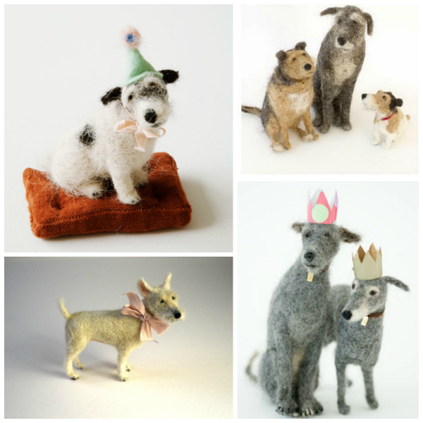 Felted dogs by Domenica More Gordon